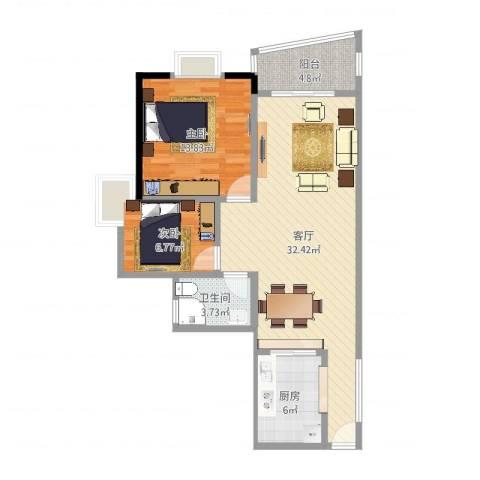 盛和新都会2室1厅1卫1厨84.00㎡户型图