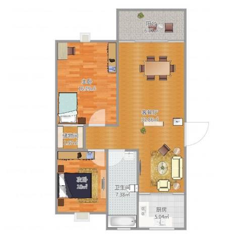 印象地中海2室2厅1卫1厨100.00㎡户型图