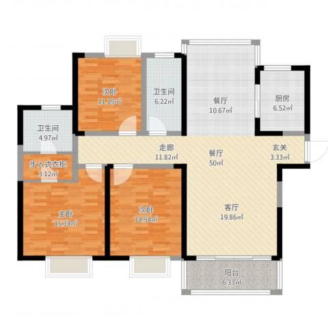 南昌莱蒙都会3室1厅2卫1厨148.00㎡户型图