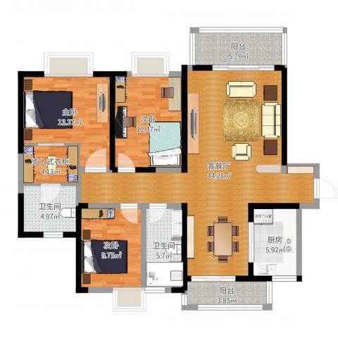 南昌莱蒙都会3室2厅2卫1厨138.00㎡户型图