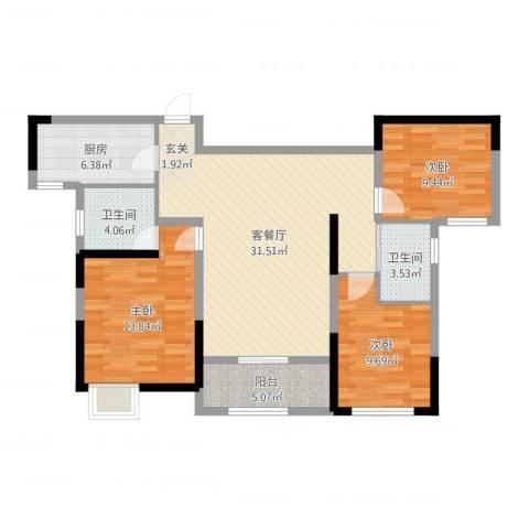 暨阳玫瑰城三期3室2厅2卫1厨104.00㎡户型图