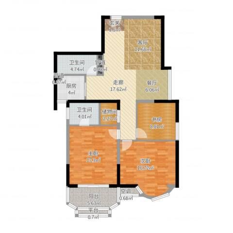 雯锦雅苑3室2厅2卫1厨145.00㎡户型图