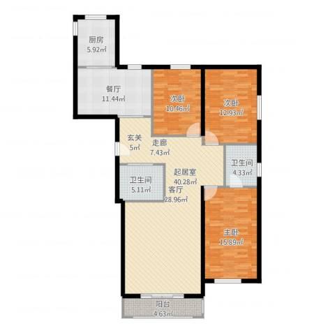 上第LOHAS3室1厅2卫1厨155.00㎡户型图