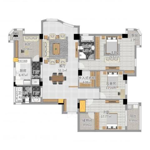 黄山豪庭4室1厅2卫1厨206.00㎡户型图