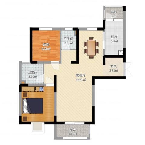 宏润花园1室2厅2卫1厨92.00㎡户型图