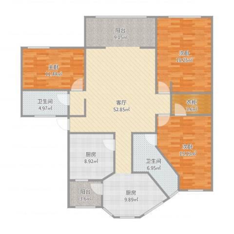 金陵御花园3室1厅2卫1厨157.00㎡户型图