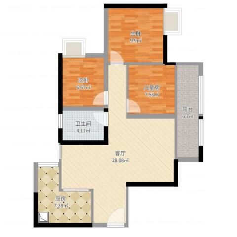 寰宇世家3室1厅1卫1厨88.00㎡户型图