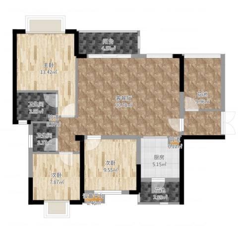 龙光城3室2厅2卫1厨114.00㎡户型图