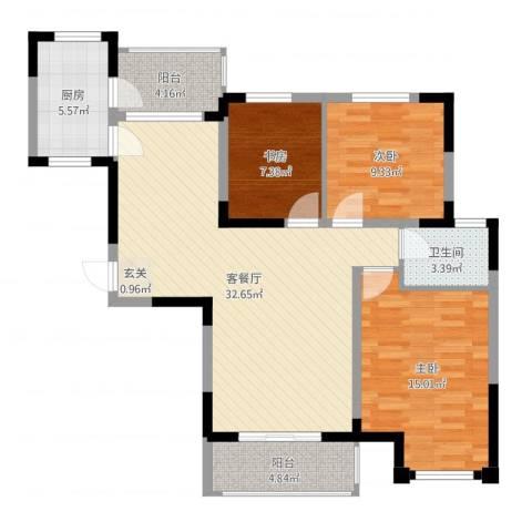 一品苑3室2厅1卫1厨103.00㎡户型图