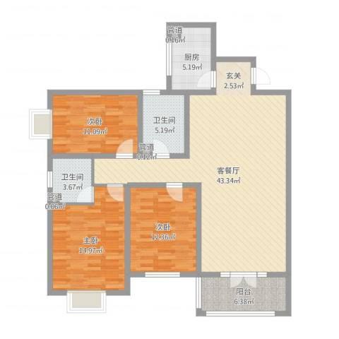府西国际公寓3室2厅2卫1厨128.00㎡户型图