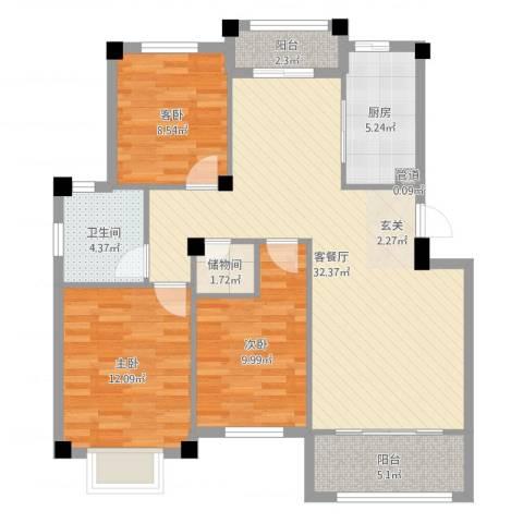 佳兆业壹号公馆3室2厅1卫1厨102.00㎡户型图