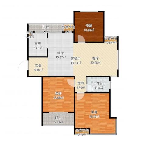 世纪华城3室2厅1卫1厨138.00㎡户型图