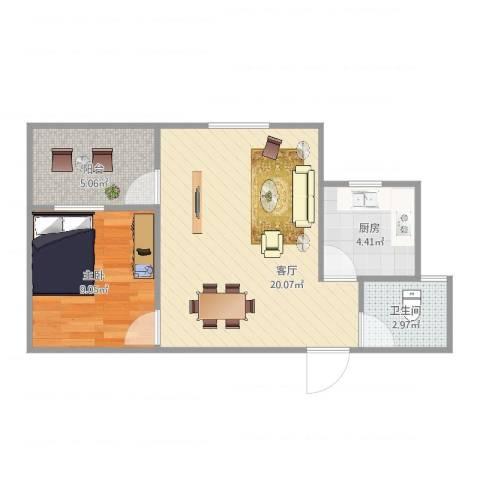 金地上塘道花园1室1厅1卫1厨56.00㎡户型图