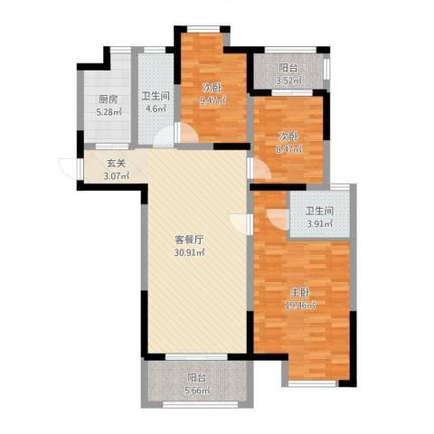 海陵首府3室2厅2卫1厨114.00㎡户型图