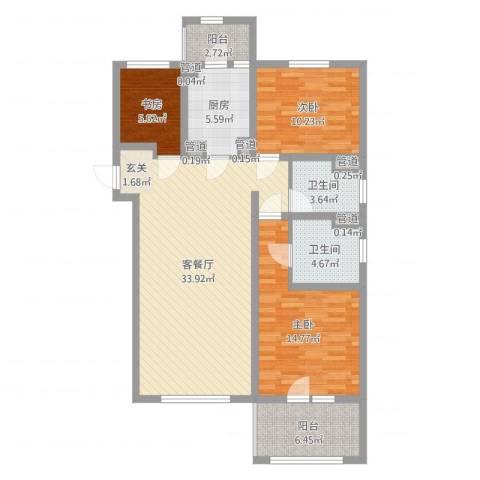 朗诗绿色街区3室2厅2卫1厨110.00㎡户型图