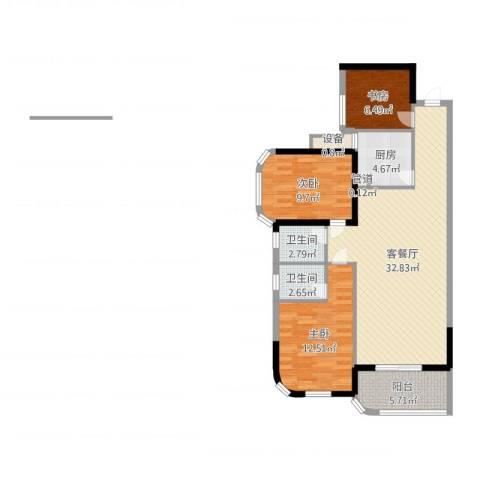 安溪龙湖8883室2厅2卫1厨111.00㎡户型图