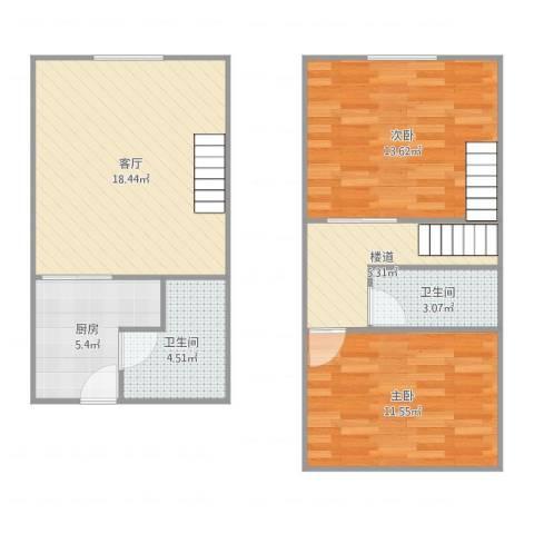 312018长江壹号2室1厅2卫2厨77.00㎡户型图