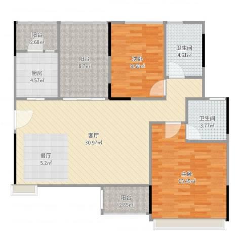 金地格林2室1厅2卫1厨104.00㎡户型图