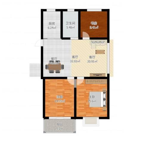 盛世名门3室1厅1卫1厨111.00㎡户型图