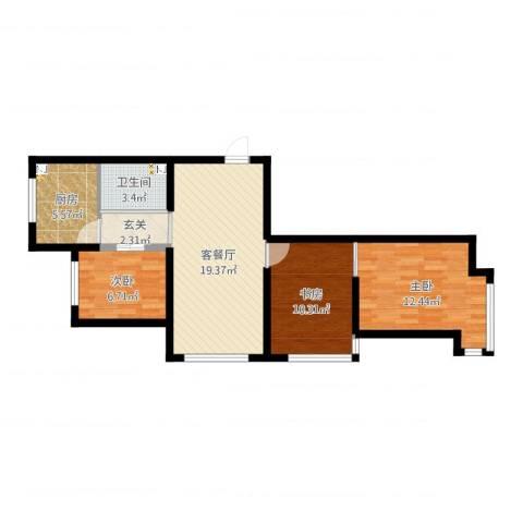 丽晶公馆3室2厅1卫1厨96.00㎡户型图