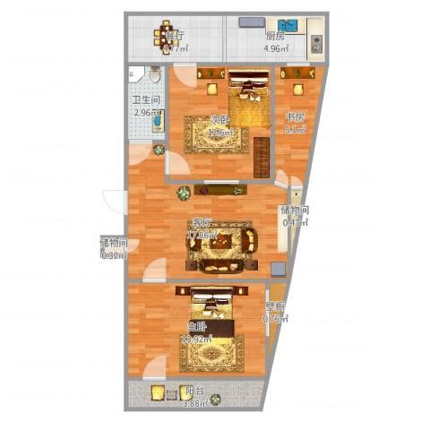 长盛小区3室2厅1卫1厨84.00㎡户型图
