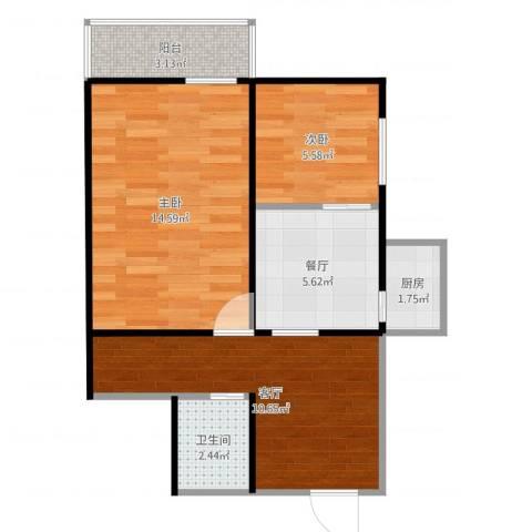 西坝河中里2室2厅1卫1厨55.00㎡户型图