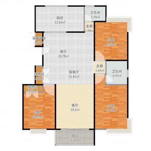 金铭福邸三期3室2厅2卫1厨172.00㎡户型图