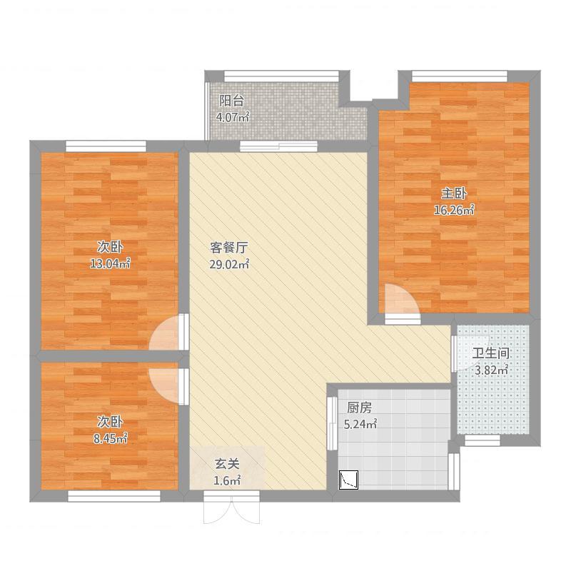 紫元尚郡b1户型98+10平方米