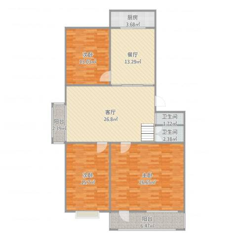 鸿福苑3室2厅2卫1厨140.00㎡户型图