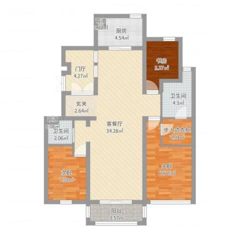 明珠苑3室2厅2卫1厨100.00㎡户型图