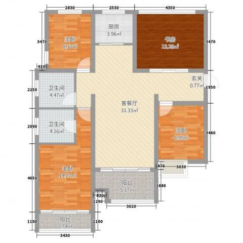 金元小区4室2厅2卫1厨140.00㎡户型图