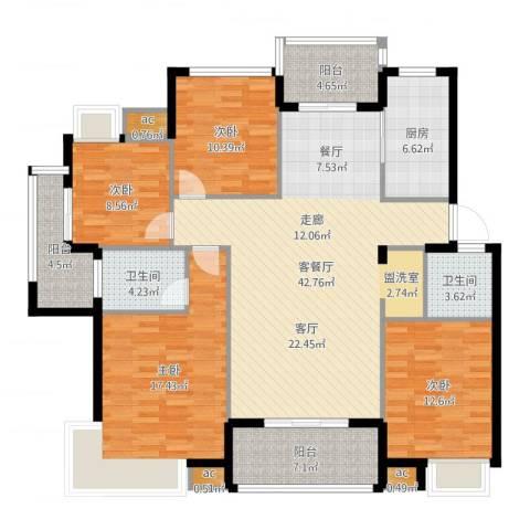 黄山怡园4室2厅2卫1厨155.00㎡户型图