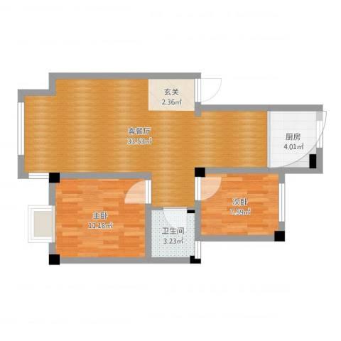 蓝星金谷园2室2厅1卫1厨85.00㎡户型图