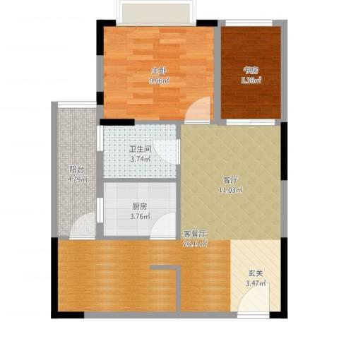 美每家美华星都2室2厅1卫1厨67.00㎡户型图