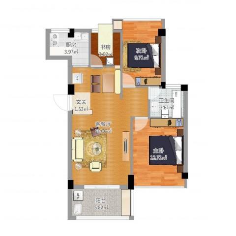 山水华庭3室2厅1卫1厨83.00㎡户型图