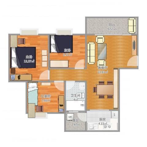 如英居3室2厅1卫1厨86.00㎡户型图