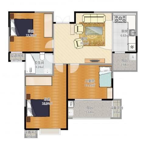 惠泽云锦城3室1厅3卫2厨103.00㎡户型图