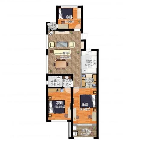 新城悠活城2室3厅4卫1厨101.00㎡户型图