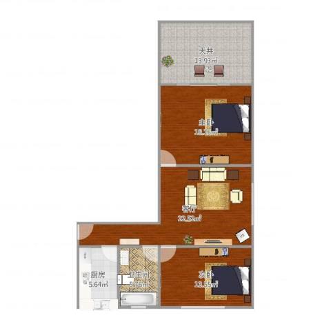 临汾路1564弄小区2室1厅1卫1厨99.00㎡户型图