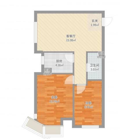 中信・御园2室2厅2卫2厨67.00㎡户型图