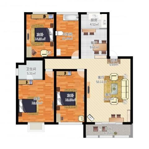 方圆绿茵3室1厅2卫1厨163.00㎡户型图