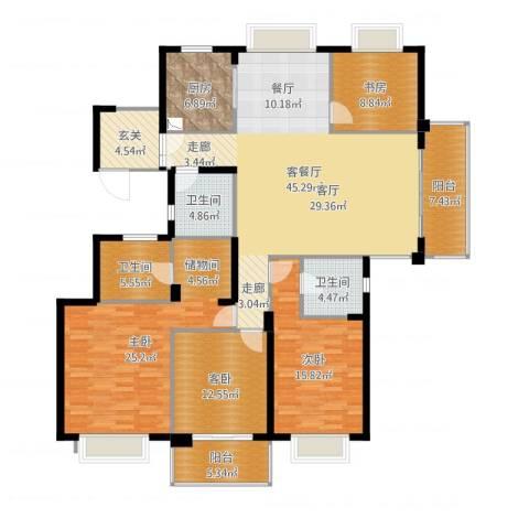 栖霞栖园4室2厅3卫1厨183.00㎡户型图
