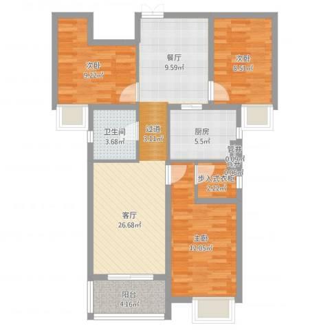 华勤紫金城3室1厅1卫1厨90.00㎡户型图