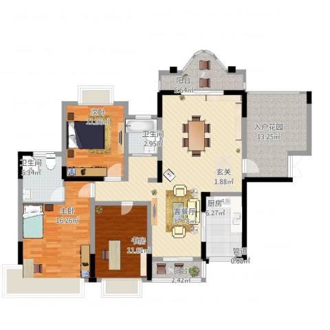 锦绣江山3室2厅2卫1厨129.64㎡户型图