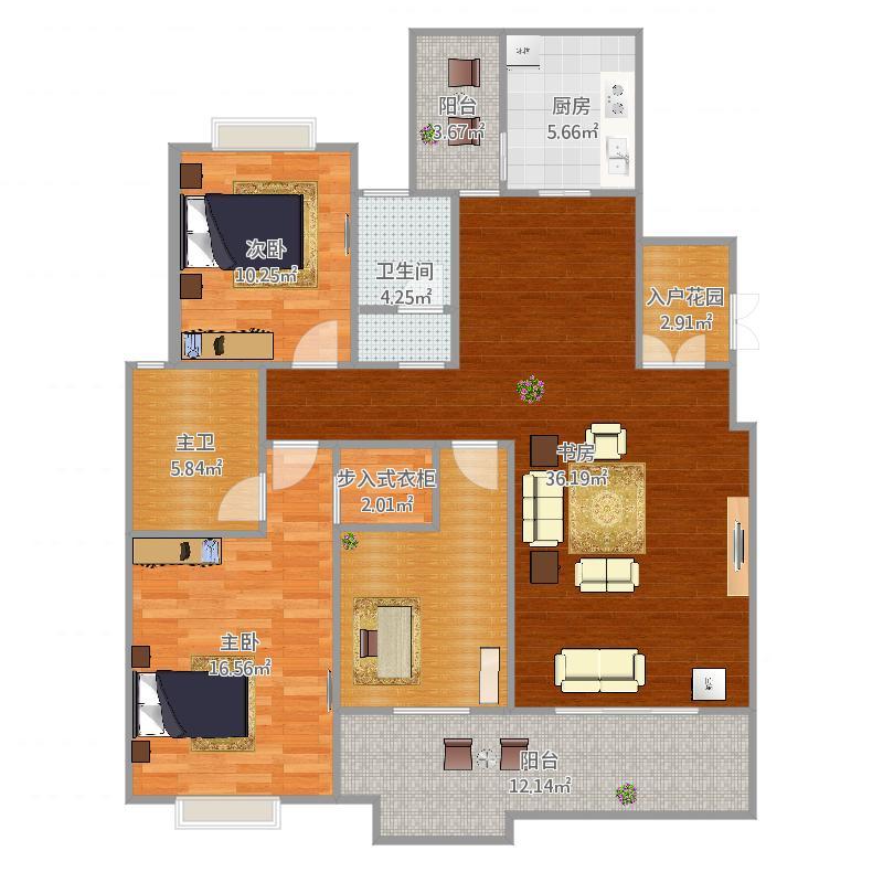 鑫科.惠风园小区A1户型3室2厅2卫1厨141.04㎡11