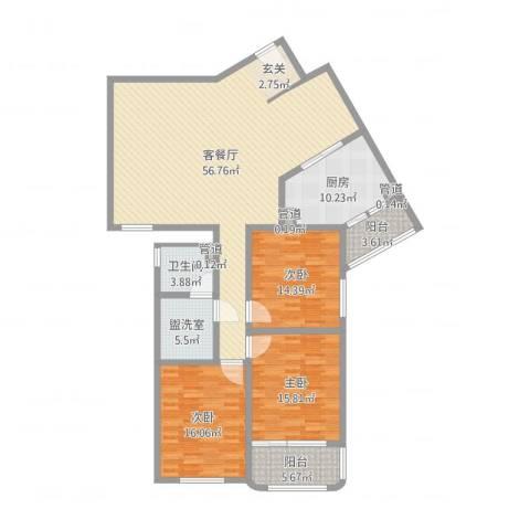 滨河小区3室2厅1卫1厨132.37㎡户型图
