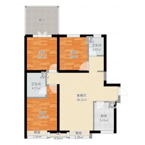 华夏第九园・兰亭3室2厅2卫1厨99.00㎡户型图