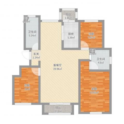 泛海拉菲庄园3室2厅4卫1厨122.00㎡户型图