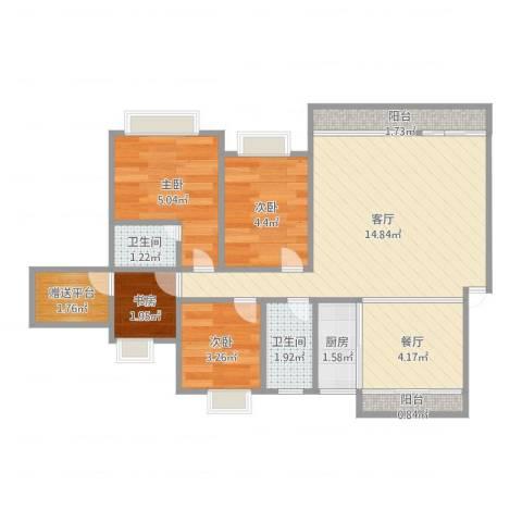 凯茵新城雅湖居4室2厅2卫1厨53.00㎡户型图