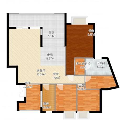 观山湖1号3室2厅2卫1厨154.00㎡户型图
